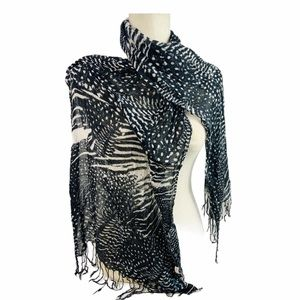 Roxy Black & White Animal Print Light Scarf